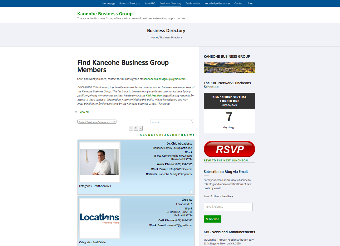 KBG Directory New Interface